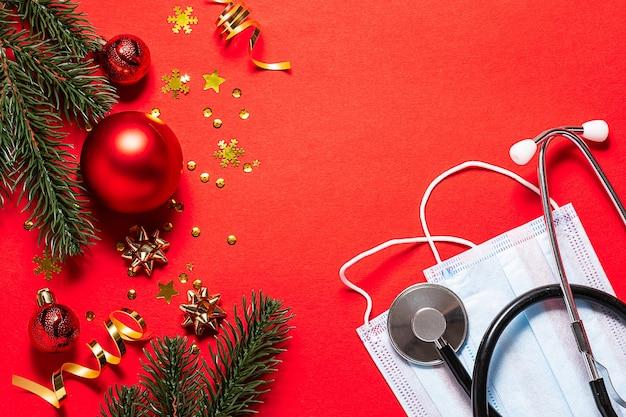 Carte De Voeux De Noël Pour Le Concept De Médecins. Photo Premium