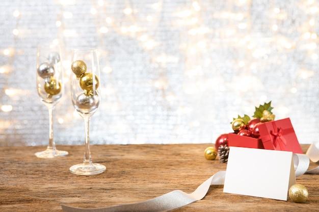 Carte de voeux de noël présent nouvel an parti cadeau espace fond
