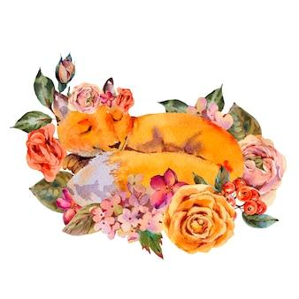 Carte de voeux de renard floral aquarelle, renard endormi, roses, hortensia, fleurs sauvages.