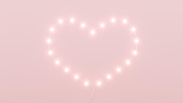 Carte de voeux romantique avec coeurs roses et podium pour le rendu de la saint-valentin