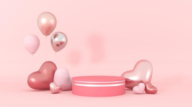 Carte de voeux romantique avec coeurs roses et podium pour la saint valentin