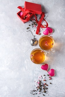 Carte de voeux de thé love valentine