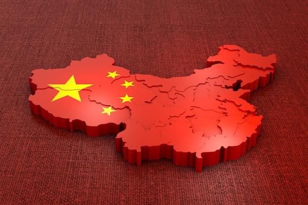 Une carte volumétrique de la chine sur le drapeau. rendu 3d.