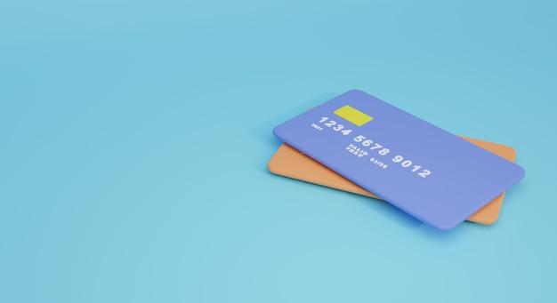 Cartes de crédit illustration 3d. moderne mignon minimal de rendu 3d de carte de crédit