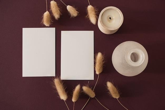 Cartes de feuille de papier vierge avec de l'herbe de queue de lapin lapin dans l'ombre du soleil