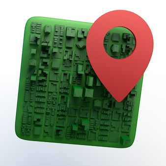 Cartes et icône de localisation isolé sur fond blanc. illustration 3d. app.