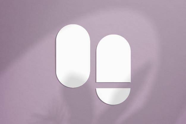 Cartes de maquette de forme ovale avec des bords arrondis dans un style minimaliste