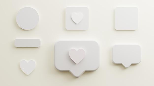 Cartes de visite d'amour de papier blanc de maquette ou bouton d'affiche et conception de cercle minimaliste isolée