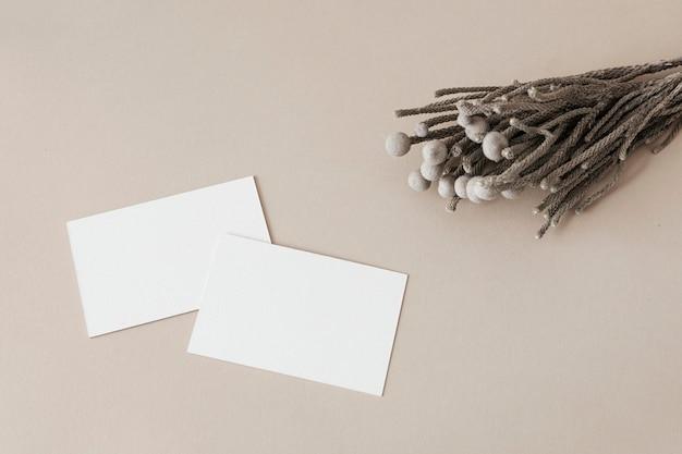 Cartes de visite blanches vierges décorées de plantes séchées