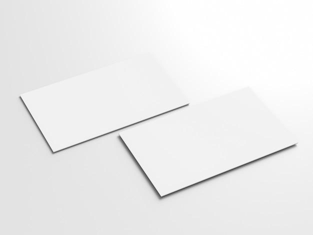 Cartes de visite blanches vierges de rendu 3d avant et arrière