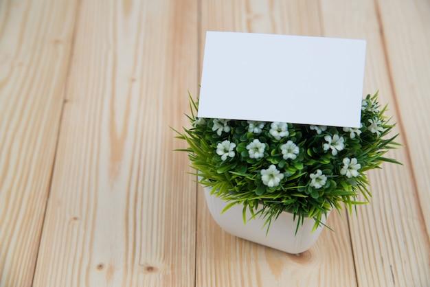 Cartes de visite vierges et petit arbre sur bois