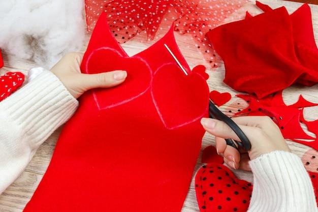 Cartes de voeux saint valentin. handmade saint valentin coeur de textiles