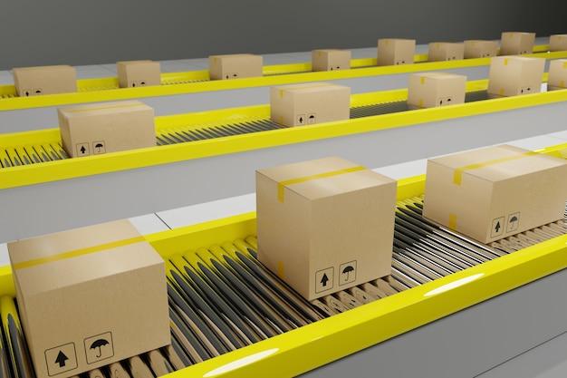 Les cartons progressent le long du tapis roulant.