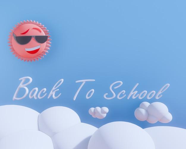 Cartoon retour à l'école rendu 3d.