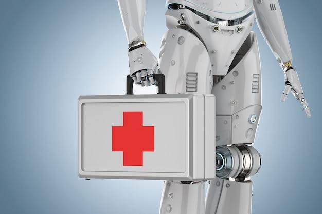 Cas médical de rendu 3d dans la main du robot sur fond bleu