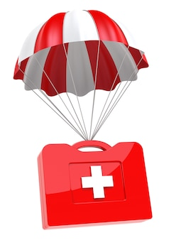 Cas de premiers soins et parachute sur fond blanc. image 3d isolée