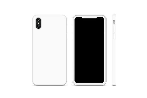 Cas de téléphone blanc vierge, stand isolé
