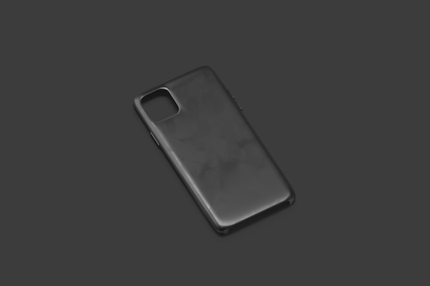 Cas de téléphone noir blanc isolé sur fond noir