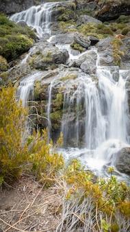 Cascade en cascade avec de l'eau soyeuse portrait tourné sur routeburn track nouvelle-zélande