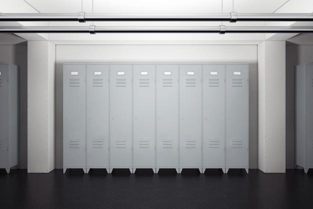Casiers en métal gris dans les vestiaires gros plan extrême. rendu 3d.