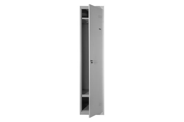 Casiers métalliques pour vestiaire. changer la boîte de casier en métal de pièce sur le fond blanc d'isolement