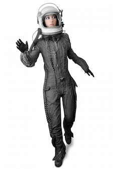 Casque de costume de femme astronaute stand stand femme