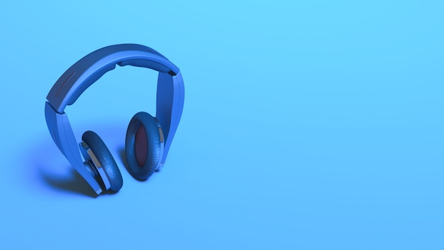 Casque en éclairage néon bleu se bouchent, illustration 3d