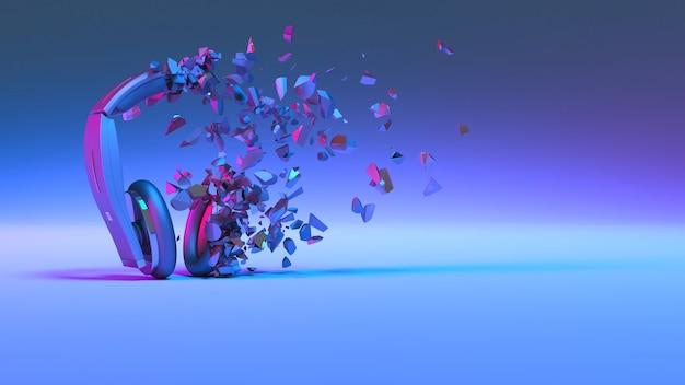 Casque en éclairage néon tombant en petites pièces, illustration 3d