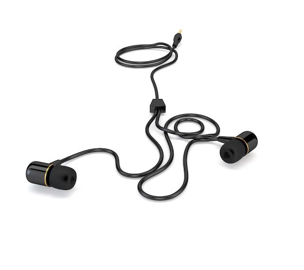 Casque d'écoute avec un câble noir isolé sur fond blanc. illustration 3d