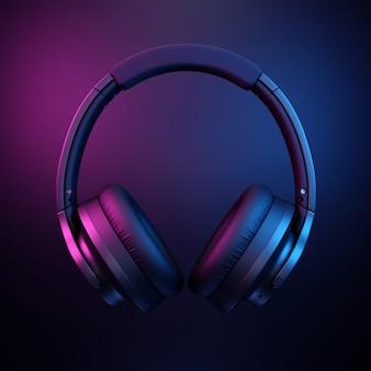 Casque d'écoute sur fond noir foncé
