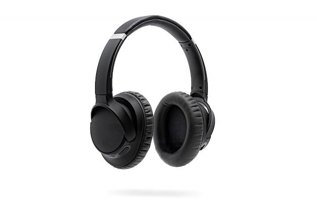 Casque d'écoute noir sans fil isolé