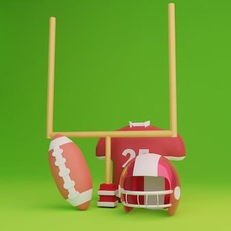 Casque de football américain 3d maillot ballon poteau de but en arrière-plan vert