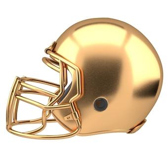 Casque de football américain doré isolé