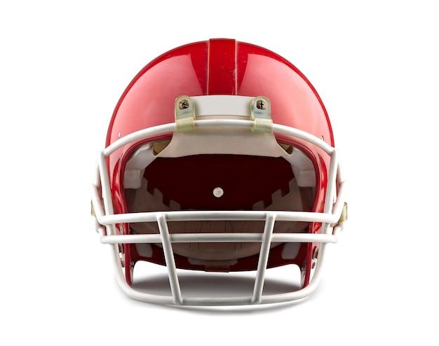 Casque de football américain rouge isolé sur fond blanc avec un tracé de détourage détaillé.