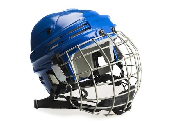 Casque de hockey sur glace bleu avec cage,