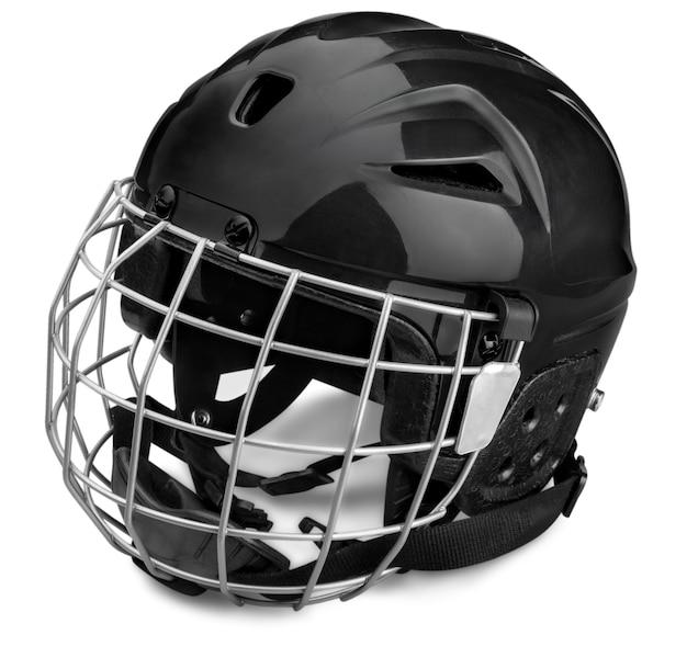 Casque de hockey sur glace noir avec cage, isolé sur fond transparent