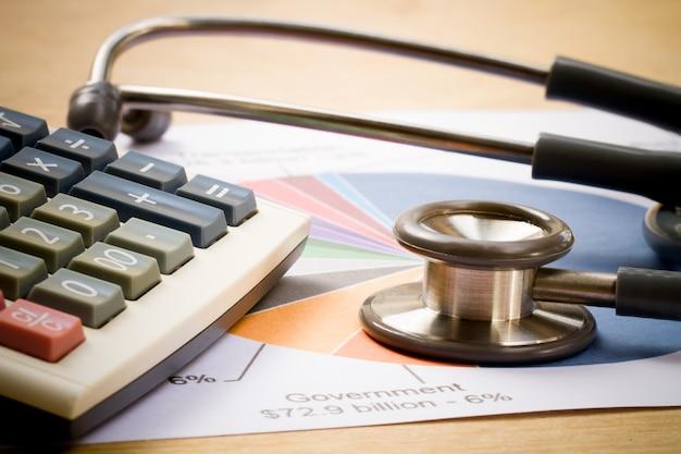 Casque médical, stéthoscope avec tableau de rapport financier et calculatrice sur le bureau