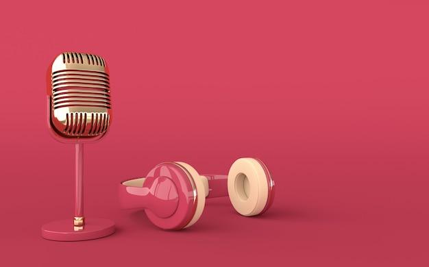 Casque et microphone de style vintage. couleurs pastel et détails dorés. écouteurs rétro et rendu 3d réaliste de micro.