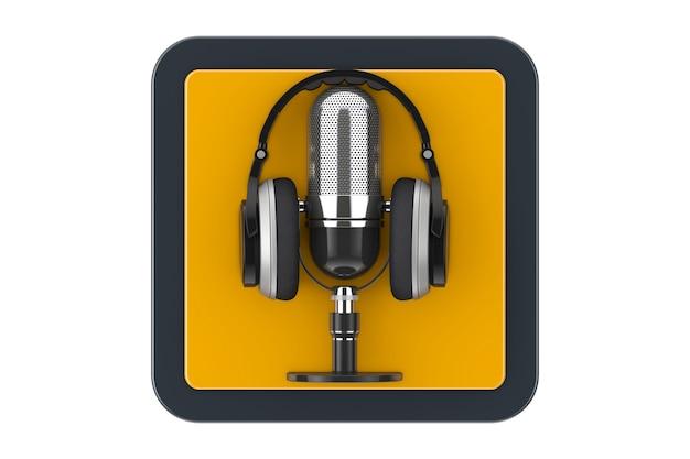 Casque moderne noir avec microphone rétro comme bouton d'icône web de point de contact sur un fond blanc. rendu 3d