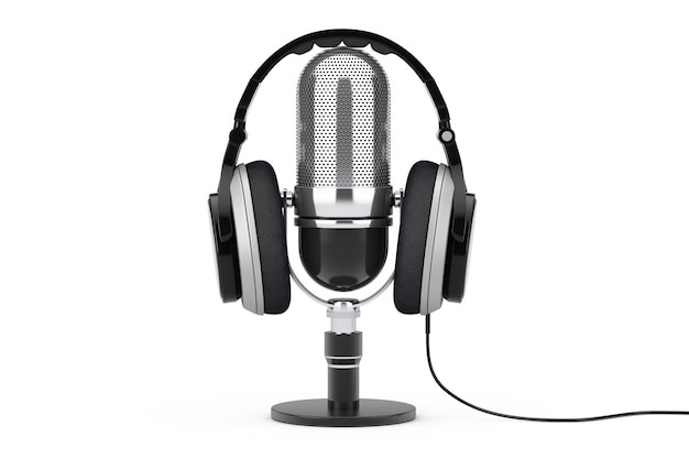 Casque noir sur microphone sur fond blanc. rendu 3d