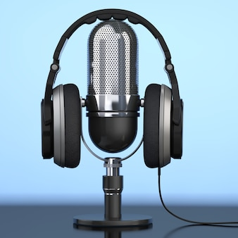 Casque noir sur microphone sur fond bleu. rendu 3d