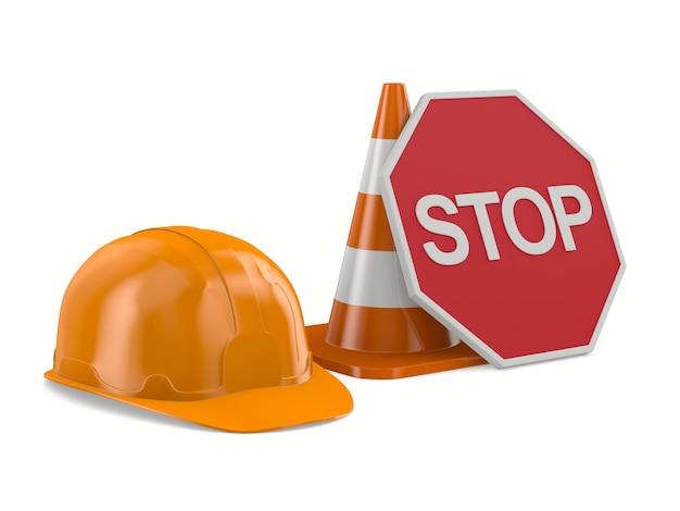 Casque orange et cône de signalisation sur fond blanc. illustration 3d isolée