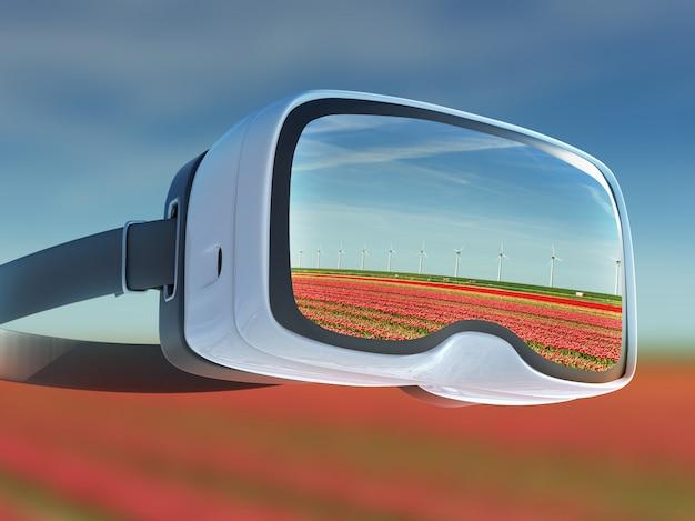 Casque de réalité virtuelle, double exposition, beau champ de tulipes rouges