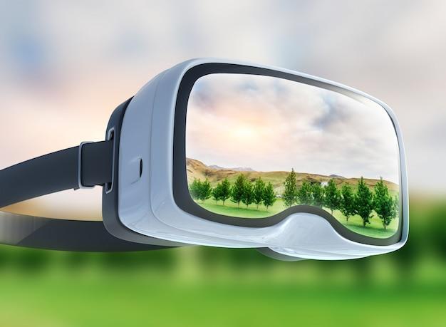 Casque de réalité virtuelle, double exposition, champ vert sous le soleil