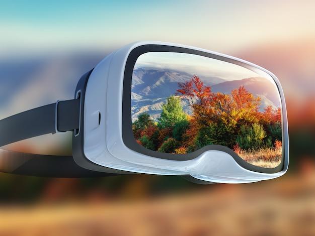 Casque de réalité virtuelle, double exposition, feuilles d'automne feuilles jaunes