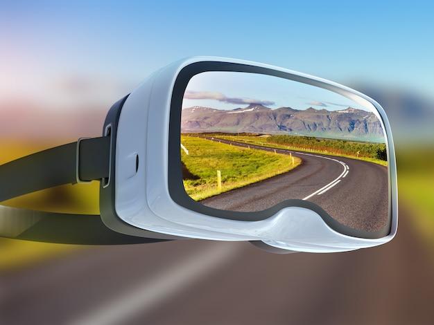 Casque de réalité virtuelle, double exposition, le long de la route