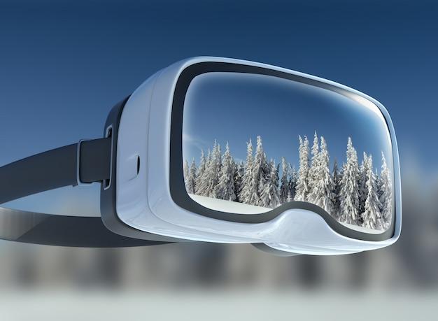 Casque de réalité virtuelle, double exposition. paysage d'hiver mystérieux montagnes majestueuses