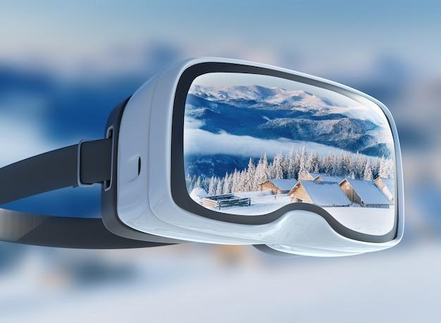 Casque de réalité virtuelle, double exposition, paysage majestueux des montagnes d'hiver
