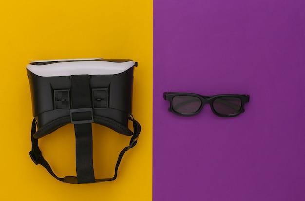 Casque de réalité virtuelle avec lunettes 3d sur fond violet jaune. vue de dessus. flay jeter