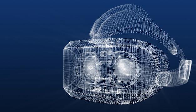 Casque de réalité virtuelle triangles de conception créative comme arrière-plan, illustration 3d